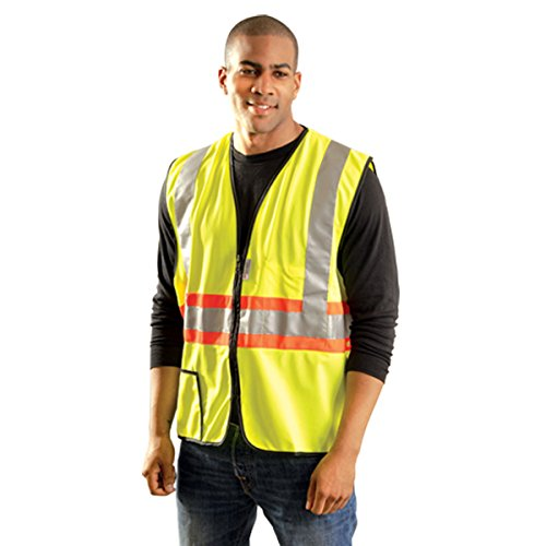 Yellow OccuLux® Premium Light Weight Solid Polyester Tricot Class 2 Two-Tone Expandable Traffic Vest With Front Zipper Closure And 3M Scotchlite 2