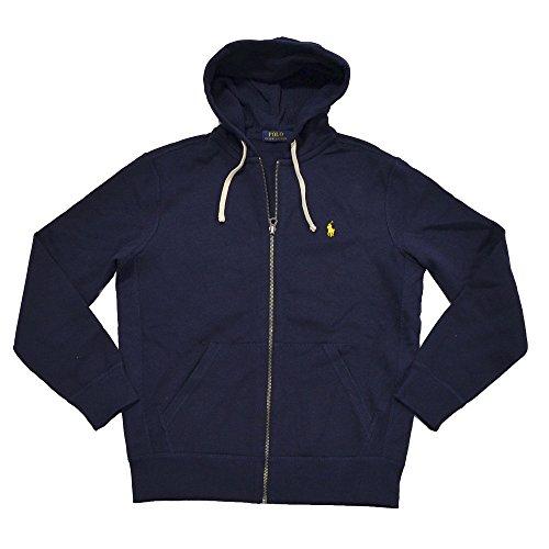 Polo Ralph Lauren Classic Full-Zip Fleece Hooded Sweatshirt (XX-Large, Navy/Yellow Logo) by RALPH LAUREN