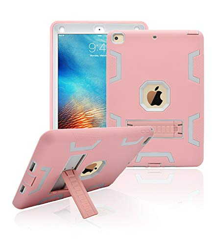 Dailylux New iPad 9.7 inch 2018/2017 Case,Three Layer Defender Heavy Duty Shock Absorption Rugged Hybrid Protective Case with Kickstand Cover for New iPad 9.7 Inch-Rose Gold+Grey]()