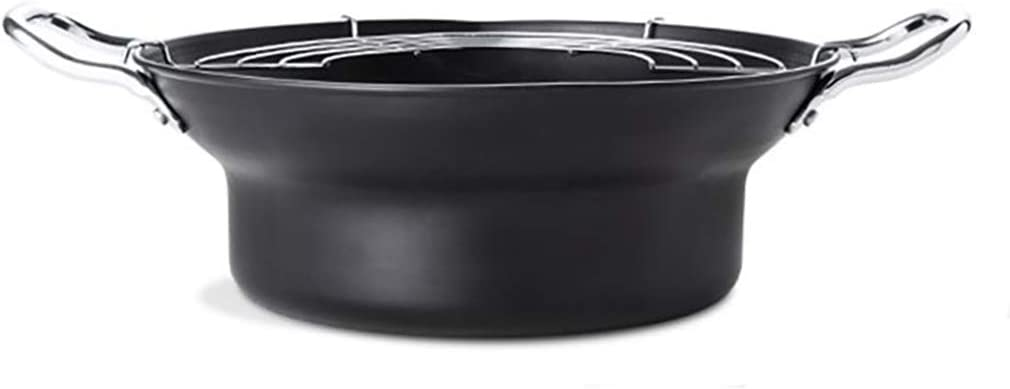 24CM black double ears with oil filter rack for small fryer gas (Size: 9.4 inches long x 3.3 inches high)