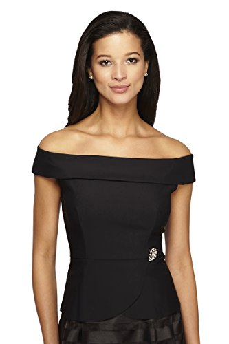Alex Evenings Women's Off The Shoulder Blouse in Smoothing Slimming Fabric L Black by Alex Evenings