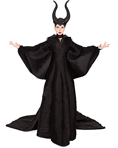 miccostumes Women's Evil Queen Halloween Costume Black Gown Dolman Dress with Horned Headpiece (1X-2X) -