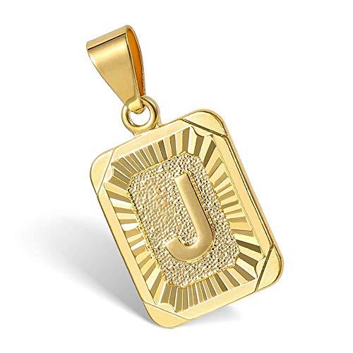Hermah Gold Plated Charm Pendant Initital Capital Letter J Mens Womens Pendant Square Charm Fashion