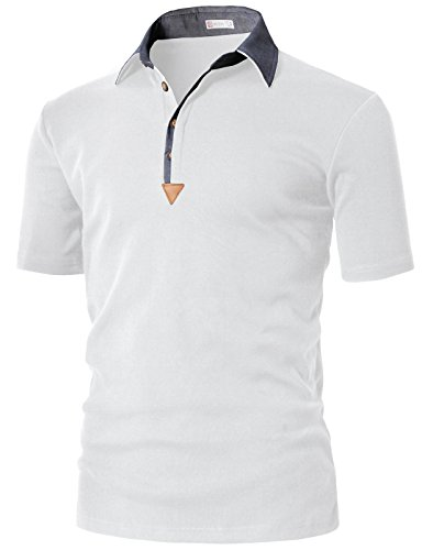 H2H Mens Climacool Fabric Collar Polo Shirts White US M/Asia L (KMTTS0553) (Polo Sport Clothing)