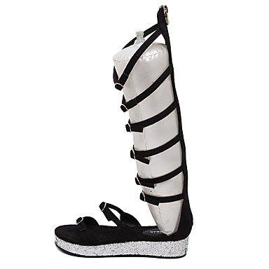LvYuan gladiador sandalias de verano de la PU de la hebilla del talón plano ocasional Black