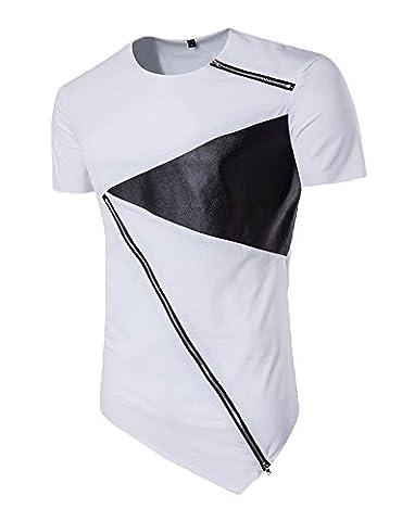 Modfine Men's Fashion Hip hop Tees Short Sleeve Zipper Irregular Summer T-Shirt Top(White,Large) - Short Sleeve Zipper