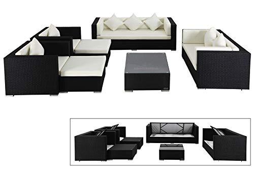 OUTFLEXX Exklusives XL Lounge-Set aus hochwertigem Polyrattan in schwarz, 3-Sitzersofa, 2-Sitzer, 2 Sessel, 2 Hocker und Kaffeetisch, inkl. Kissenpolster, für 7 Personen, Kissenboxfunktion, zeitlos