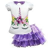 Baby Girls Unicorn Costume Dress Pageant Princess Party Dress Flower Evening Gowns Tutu Dress (Purple Unicorn, 4T(5-6Y))