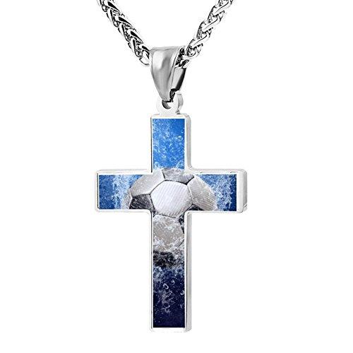 (Elelab Fashion Football Cross Necklace Zinc Alloy Pendant Creative Personalized Accessories Prayer Christian 24)