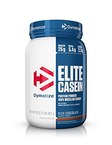 - Dymatize Elite 100% Micellar Casein Slow Absorbing Protein Powder with Muscle Building Amino Acids, Perfect For Overnight Recovery, Slow Digesting, Rich Chocolate, 2 lbs