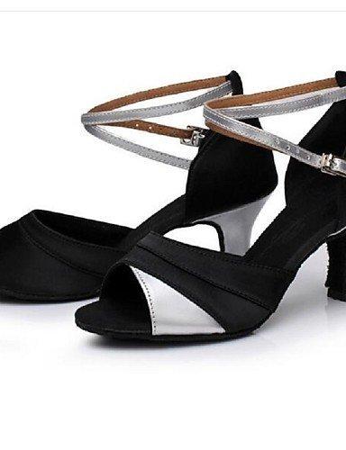 Personnalisables ShangYi Chaussures Satin black danse Similicuir gold and Bottier Latine de Talon Autre Non rqrpxXn1w
