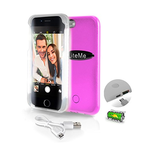 SereneLife iPhone 6 iPhone 6S Selfie Case - Durable LED Illuminated Flashing Light selfie case for Instagram Snapchat with Power Bank Phone Charger. (SLIP101PN) ()