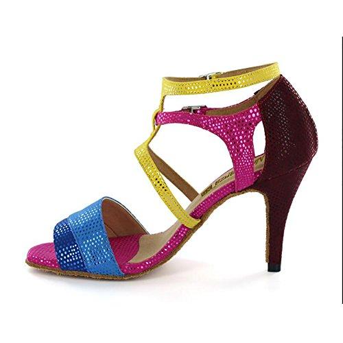 e39cf9d7 XUE Zapatos latinos para mujer / Zapatos de salón Cuero sintético Hebilla de  tacón Zapatos de baile de tacón Fucsia Fiesta y noche ( Color : UN, ...