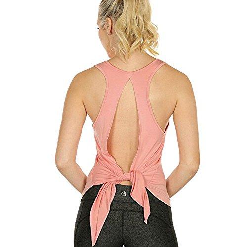 NEEKEY Summer Tank Tops for Women, Sexy Yoga Tops Racerback Tank Top Sport Backless Sleeveless Blouse(L,Orange)