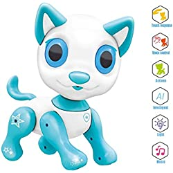 Electronic Pet Toy, Smart Robot Dog ~ Interactive Puppy Toys for Age 3 4 5 6 7 8 Year Old Boys and Girls, Gift for Kids ● Emotional Interaction (White)