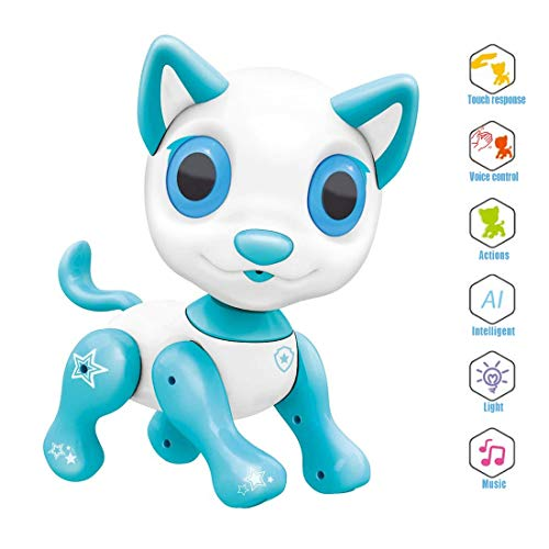 Electronic Pet Toy, Smart Robot Dog ~ Interactive Puppy Toys for Age 3 4 5 6 7 8 Year Old Boys and Girls, Gift for Kids ? Emotional Interaction (White)