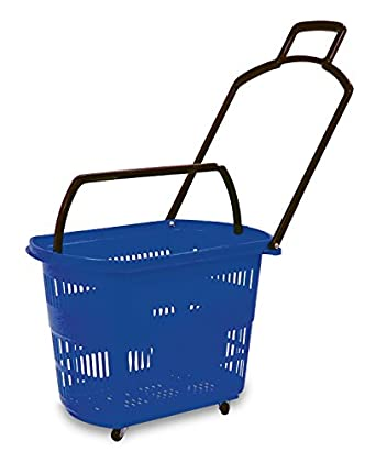 c3de7f99cb3 Retail Store Fixtures & Equipment Single Blue Plastic Easy-Pull Rolling  Shopping Basket with Long Durable Handle TISupplies