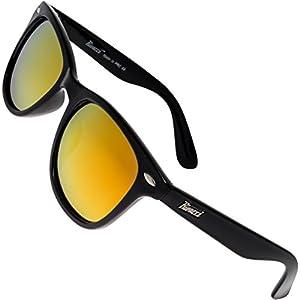 Rivacci Men Women Wayfarer Black Frame / Red – Gold Mirror Lens Classic Retro Polarized Sunglasses