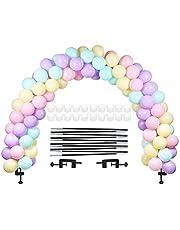 LANGXUN Zwarte ballonboogset, Ballonboog Halfronde boogset 2 verstelbare clips, 10 glasvezelstaven 20 Ballonringsets voor verschillende tafelmaten voor verjaardagsbruiloften en afstudeerfeesten