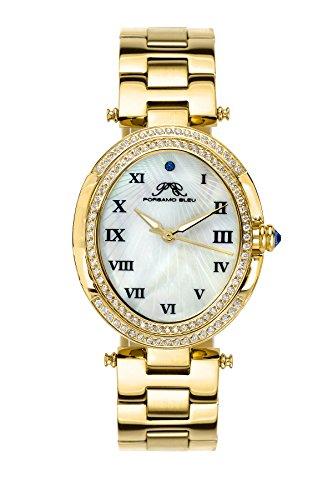 Porsamo Bleu Luxury South Sea Oval Crystal Stainless Steel Champagne Women's Watch 106BSSO