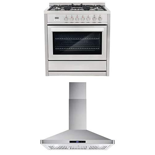 Cosmo Appliance Package 36″ COS-F965NF Dual Fuel Range and 36″ COS-63190S Wall Mount Range Hood