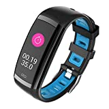 Leoie 0.96 Inch Healthy Smart Watch Blood Pressure Heart Rate Monitor IP67 Waterproof Bracelet Sport Watch Fitness Tracker Blue