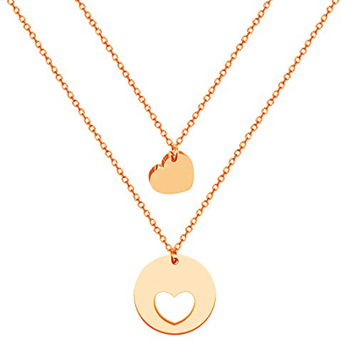 JJTZX Mother and Daughters Necklace Set -The Love Between Mother and Daughter is Forever Mother Jewelry (Necklace Set of 2-RG)