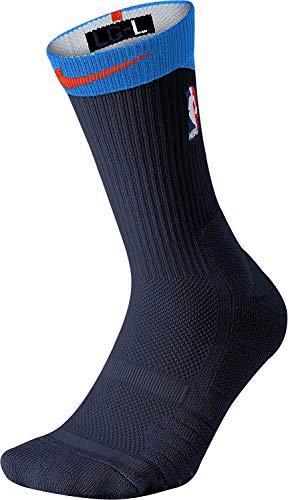 NIKE NBA Elite Quick Crew Basketball Socks (Blue/Orange, L) (Gold And Black Nike Elite Socks)