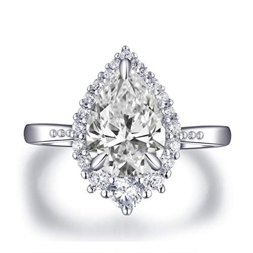 LESFD 2 Carat Pear Cut CZ Cubic Zirconia Halo Engagement Ring (4)