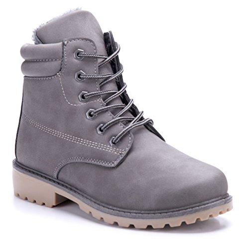 Schuhtempel24 Damen Schuhe Stiefel Stiefel Stiefeletten Blockabsatz Blockabsatz Blockabsatz 4 cm Grau a619a3