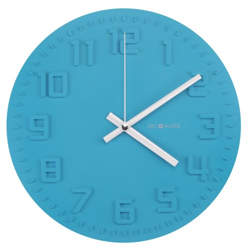 DecoMates Non-Ticking Silent Wall Clock, Ocean Blue Disc
