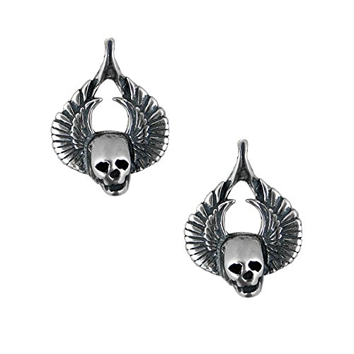 Sterling Silver Striking Winged Skulls Post Stud Earrings