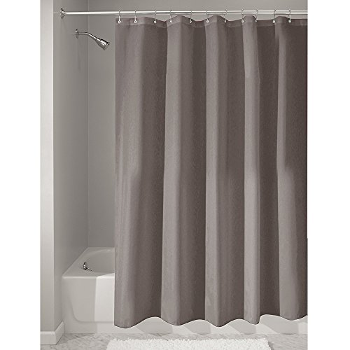 InterDesign Mildew Free Water Repellent Fabric Shower Curtain Stall 54 X 78 Dark Taupe