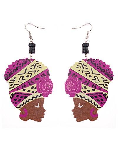 [Wooden Flower Colored Turban African Woman Head and Bead Dangle Hook Earrings - Purple/Beige] (Purple Bead Earrings)