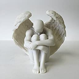 Male Nude Angel Holding Knees Statue Sculpture