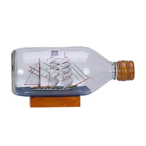 Beachcombers Pirate Boat in Bottle with Base Blue
