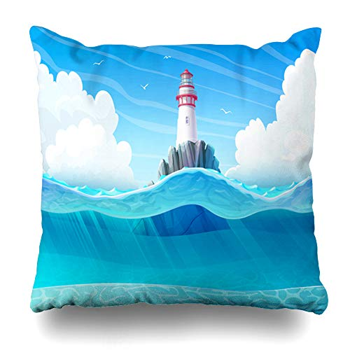 Alfredon Throw Pillow Cover Adventure Lighthouse Light House Beacon Rock Wave Seagulls Sea Ocean Seascape Underwater Undersea Pillowcase Square Size 20 x 20 Inches Zippered Home Decor Cushion Case
