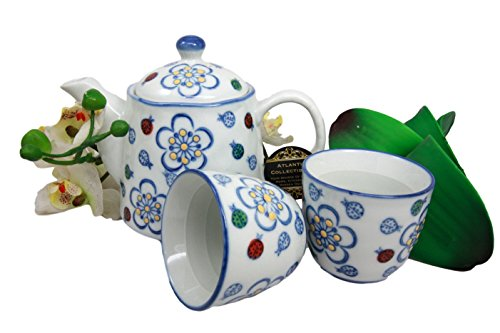 (Atlantic Collectibles Colorful Ladybug & Flowers Patterned Glazed Ceramic 16oz Tea Pot With Metal Strainer and Cups Set Serves 2)