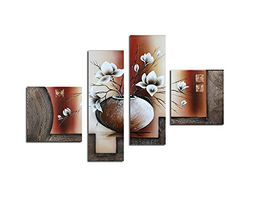 Noah Art-Contemporary Flower Art, White Tulip in a Vase Flower Pictures 100% Hand Painted Abstract Oil Painting of Flowers on Canvas Wall Art, 4 Panel Framed Floral Artwork for Bedroom Wall Decoration