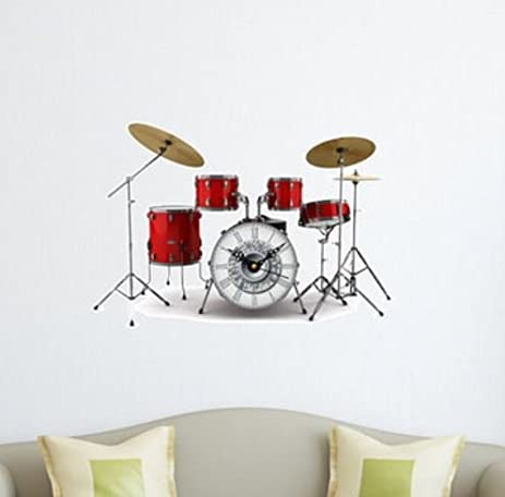 Amazoncom Drum Set DIY Wall Decal Clock 3D Wall Stickers Clock 3D