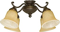 Craftmade LK405CFL-AG 4 Light Universal Fan Light Kit with Tea-Stained Glass, Aged Bronze Textured
