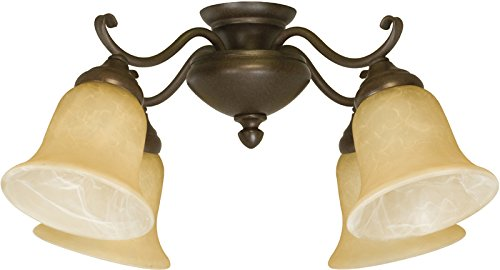 Bronze Universal Light Kits (Craftmade LK405CFL-OB 4 Light Universal Fan Light Kit with Tea-Stained Glass, Oiled Bronze)