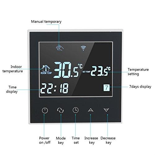 Fdit 110V Termóstato de Calefacción de WIFI Control Inalámbrico de Pantalla Táctil de Digitaces LCD de Aplicación Controlador de Temperatura ...