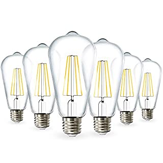 Sunco Lighting 6 Pack ST64 LED Bulb, Dimmable, Waterproof, 8.5W=60W, 3000K Warm White, Vintage Edison Filament Bulb, 800 LM, E26 Base, Restauarant or String Lights - UL