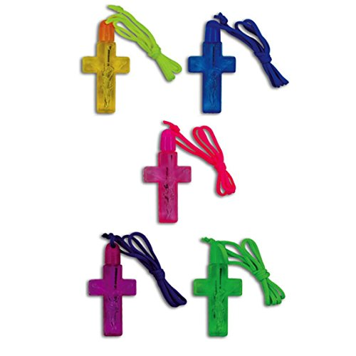 Kipp Bright Colored Cross Shaped Bubble Necklaces Party Favors (12 Pack) 3