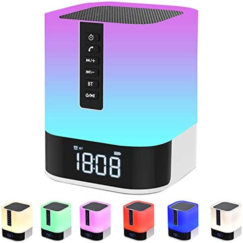 Night time Mild Bluetooth Speaker, Alarm Clock Bluetooth Speaker for Bed room, Contact Management Bedside Lamp, Dimmable RGB Multicolor Altering LED Desk Lamp, MP3 Participant, Wi-fi Speaker with Lights