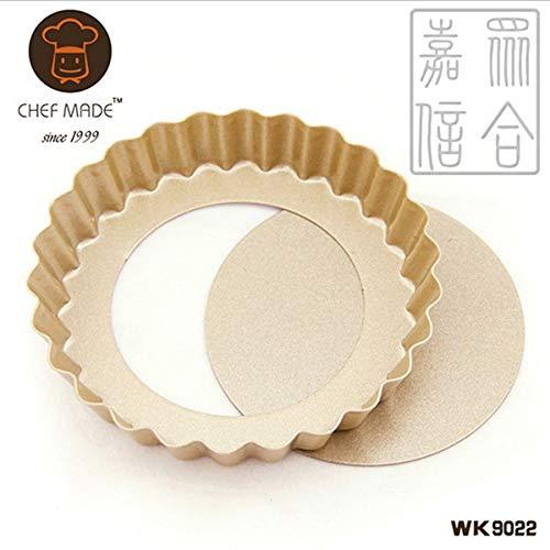 1 piece 4 Mini Tart & Quiche Pan ROUND/HEART SHAPE FLUTED FLAN TIN NONS-TICK LOOSE BASE BOTTOM QUICHE PIE PAN BAKING DISH TRAY ()