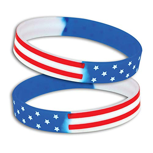 Patriotic American Flag Stars & Stripes Silicone Wristbands - Pack of 12