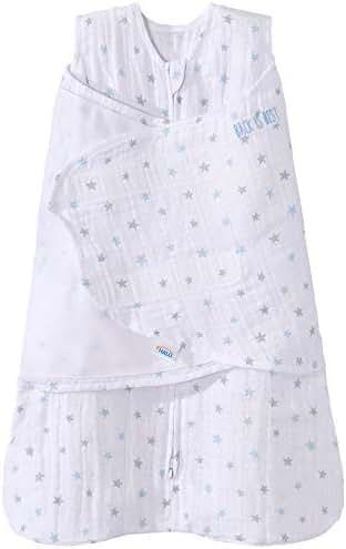 Halo 100% Cotton Muslin Sleepsack Swaddle Wearable Blanket, Blue Stars, Newborn