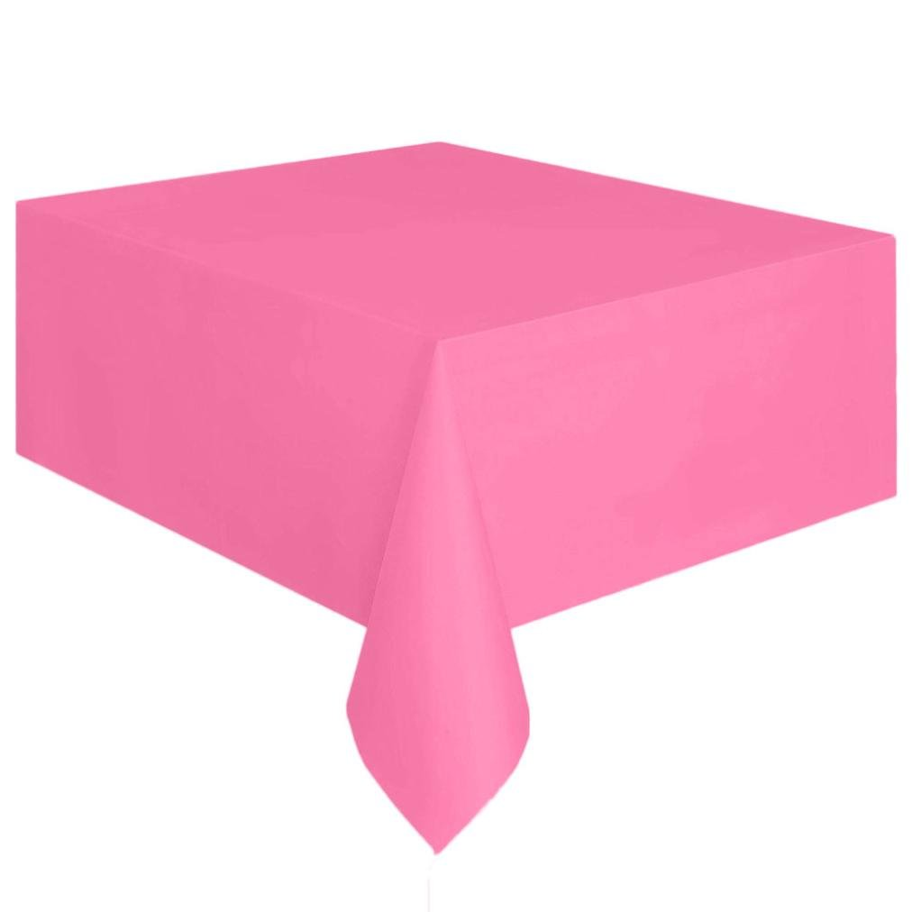 Coohole Disposable Plastic Tablecloth,6ft x 4.5ft Rectangle Table Cover (Hot Pink)